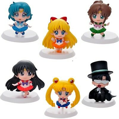 6pcs Sailor Moon Chibi Moon Mars Jupiter Pluto Figure Collection Mini Figures