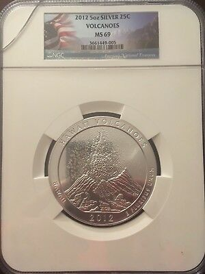 2012 25C Hawaii Volcanoes NP 5 oz Silver America the Beautiful MS 69 NGC!!