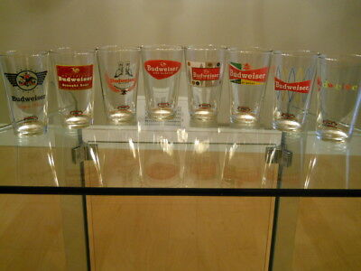 NEW Anheuser Busch Budweiser RETR0 ADVERTISING PINT Beer Glasses-ALL 8 YEARS