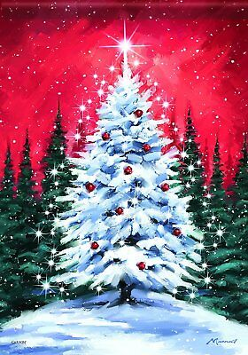 Carson Home Accents Snowy Tree Trends Classic Large Flag