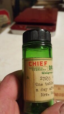 Vintage Green Medicine Or Pill Bottle,  Chief Drug Store,  Tecumseh,  Nebraska