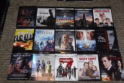 The Ultimate Ultra HD 4K BLU RAY LOT of 15 new release movies