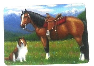 Swap / Playing Card ~ Saddled Horse And Collie Dog ~ Modern Wide