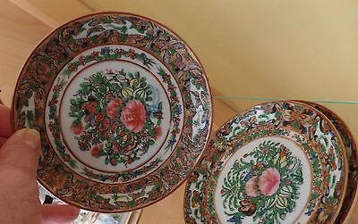 ANTIQUE THREE Saucers Canton Famille Rose BUTTERFLYS VRARE