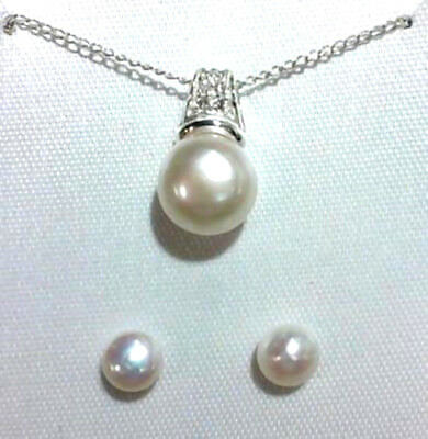 Sterling Silver Simulated Pearl Pendant Necklace & Earring Set