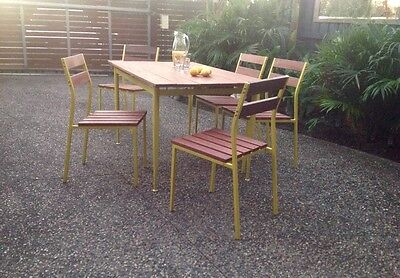 Metal & Wood Dining Table - outdoor - mid century -  Industrial Living!