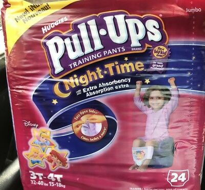 Vintage Girls Huggies Diapers Pull Ups Full Pack 24ct From 2007 Sz 3T-4T