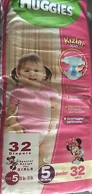 Non Vintage Huggies Girls Size XL Junior Diapers 32 Ct Sealed Pack From Turkey