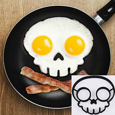 NEW Silicone Breakfast Mold Ring Funny Side Up Skull Egg Fried Frying Mould 009