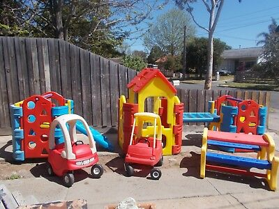 Cubby House Outdoor Activity Centre Huge Playgym Picnic Table Cozy Coupe Cars