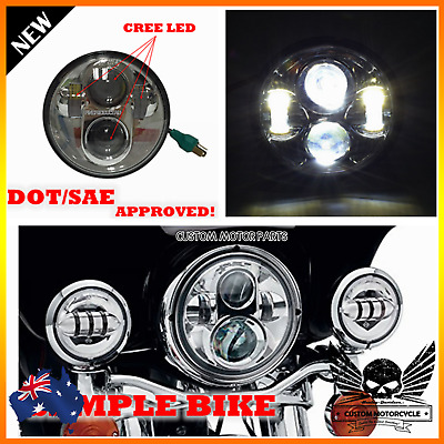 "Chrome 5 3/4"" LED projector headlight cree daymaker H4 Hi/Lo beam DOT for Harley"