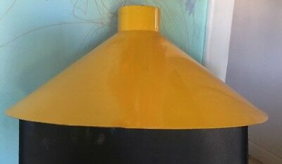 Vintage Yellow Enamel Industrial Light Shade