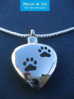 Silver Double Paws Heart Cremation Pendant Jewellery Necklace Urn Dog Cat Pet