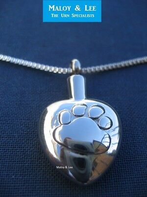 Silver Embossed Paw Heart Cremation Pendant Jewellery Necklace Urn Dog Cat Pet
