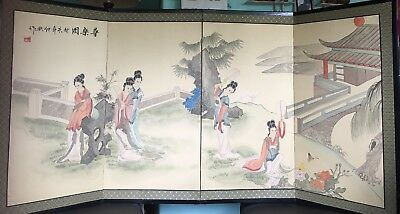 Antique Vintage Japanese 4 Panel Folding Screen For Floor Or Wall - Signed