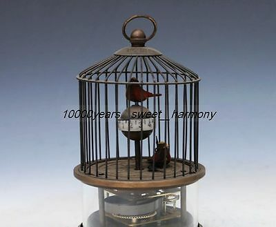 Collectible Decorated Old Copper Bird In Cage Mechanical Table Clock