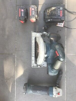 Used Bosch Angle Grinder, Circular Saw, 2 Battery's And Charger
