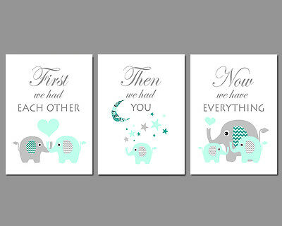 3 Wall Art Nursery Prints Mint & Grey Elephants Moon & Stars Baby Gift Set