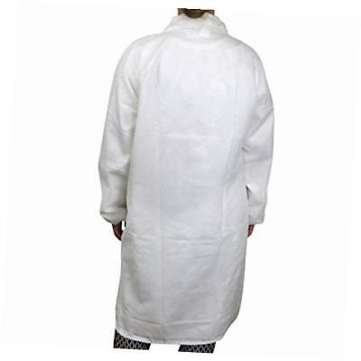 disposable poly lab coats, medium (pack of 30)
