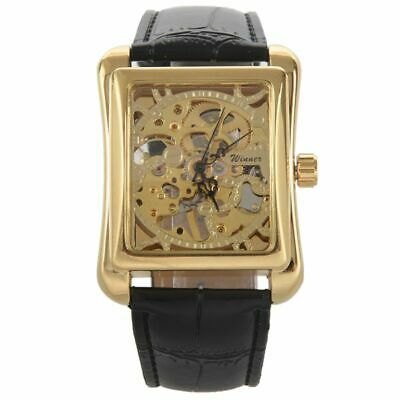 WINNER Classic Mens Casual Square Skeleton Automatic Mechanical Sports Wris S5T1