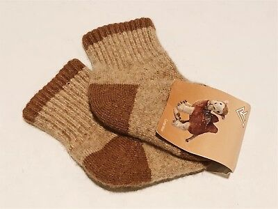 Kids Camel Wool Blend Socks Warm Brown For 0-1 years old NWT Made In Mongolia