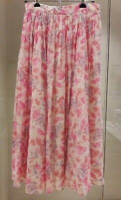 Vintage Laura Ashley Pink Floral Cotton Maxi Skirt (28inch waist)