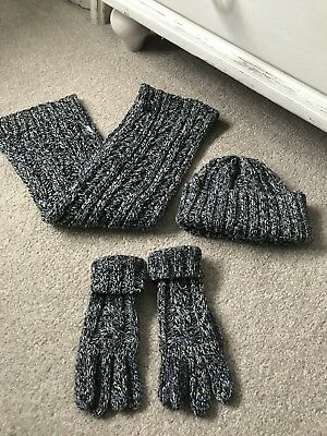 Boys Blue chunky Knit Hat, Scarf & Glove matching Set Fits 4-8 Years