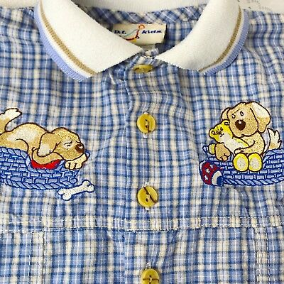 Vintage BT Kids 3-6 Mo Baby Boy One Piece Blue Outfit Puppies Pup Play So Cute!
