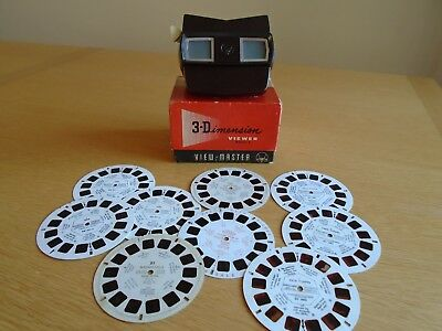 Vintage View-Master 3-Dimension Viewer Model E in Original Box & Assorted Reels