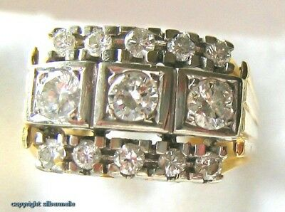 ~~Diamantring Gold Ring Ringe 14Kt 585 Gold Antikring mit Diamanten Damen Finger
