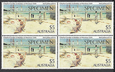 1984 Australia Mentone $5 high value stamp SPECIMEN o/print Block of 4 MNH