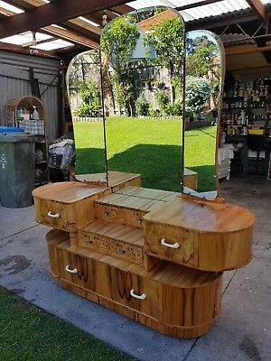 Seven Draw Curved Blonde Wood Art Deco Chest Of Drawers Dresser With Mirror