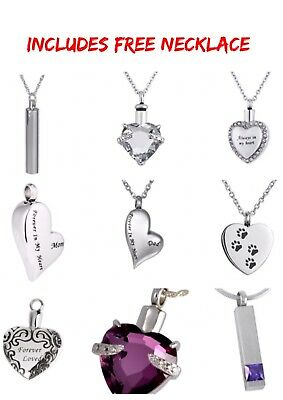 Cremation Jewellery Ashes Urn Pendant Keepsake Memorial Necklace Locket Pet Dog