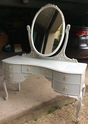 French Provincial Shabby Chic retro Dressing Table Grey Queen Anne Mirror