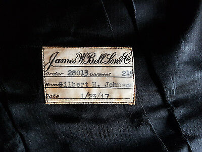 100 Year Old Vintage James W Bell Sons and Co Black Dress Waistcoat Dated 1917