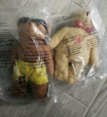Avon Breast Cancer Bear Sun Care Bear Plush Beanbags New