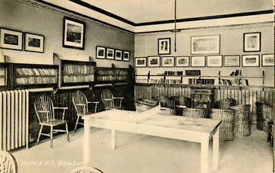 1910s postcard Table tennis room and Library Horris Hill NEWBURY Berkshire