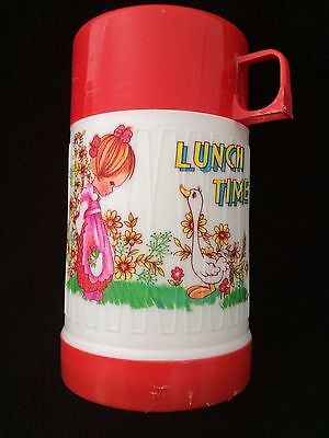 VINTAGE PLASTIC THERMOS  1970's LUNCH TIME GIRL GOOSE