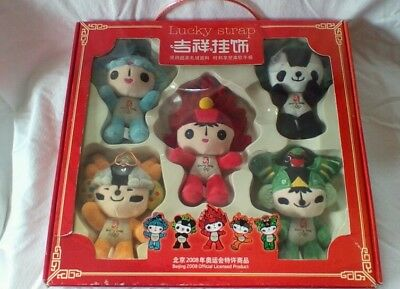 Beijing Olympics 2008, 5 plush dolls/mascots. Lucky strap. W/box. Collectable.