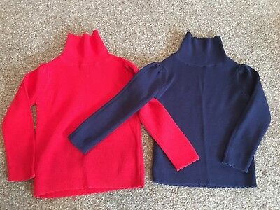 Girls 2 pack of roll neck polo neck jumpers - 12-18 mths. Christmas Colours!