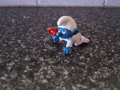 Smurf Baby with Rattle White Rare