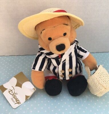 "DISNEY WINNIE THE POOH BEANIE PLUSH - WITH BASKET & Straw Hat  8"" RETIRED TAGGED"