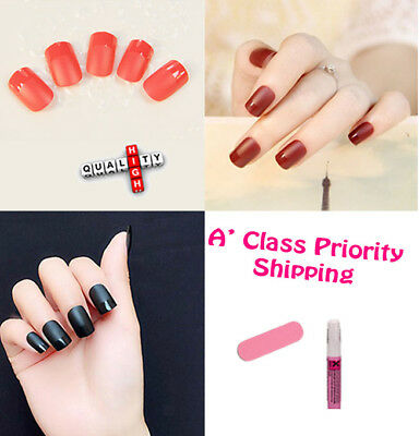 24pcs French Black Red Light Red Manicure Matte False GLUE Nail Full Cover Fast