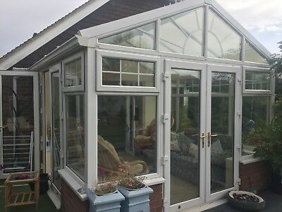 White UPVC / Brick-Base Conservatory (buyer to dismantle)- Must go soon!