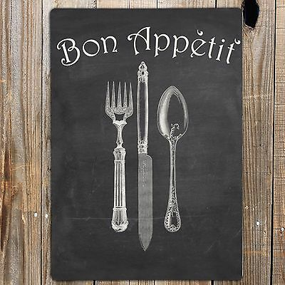 BON APPETIT Metal Door Wall Sign Kitchen Vintage Quote Print retro Shabby Chic