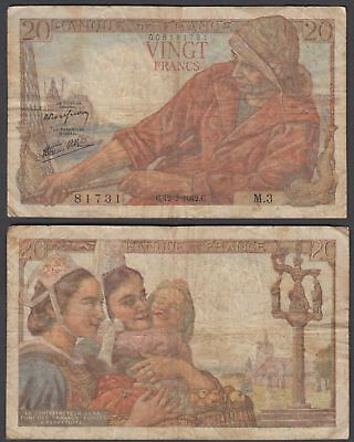 France 20 Francs 1942 (F) Condition Banknote P-100a