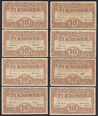 DENMARK - 8 pieces á 10 Kroner Banknotes 1943 all different sign Pick 31 n.u.p.