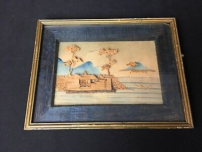 Antique & unique Hand Carved & Hand Painted Oriental Picture Framed Wall Hanger