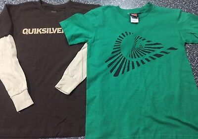 Boys Sz S (10)Quicksilver T-shirts X2