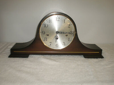 Vintage Linden German Triple Chime Mantle/Shelf 8 Day Wind Up Clock W/Key - Nice